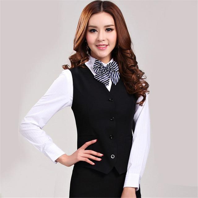 25e79b43fe0 Office Lady waistcoat women plus size Business Career Ladies Vest Work Wear  Uniforms Slim V-Neck Formal Women sleeveless vest