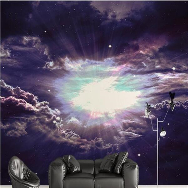 Beibehang Panel Wallpaper Universe Sky Solar System Background Modern Europe Art Mural For Large Painting Home