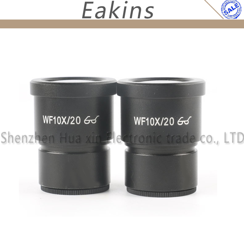 One Pair WF10X Eyepiece For Stereo video Microscope Wide Field 20mm WF10X/20 High eye point wide-angle eyepiece цена