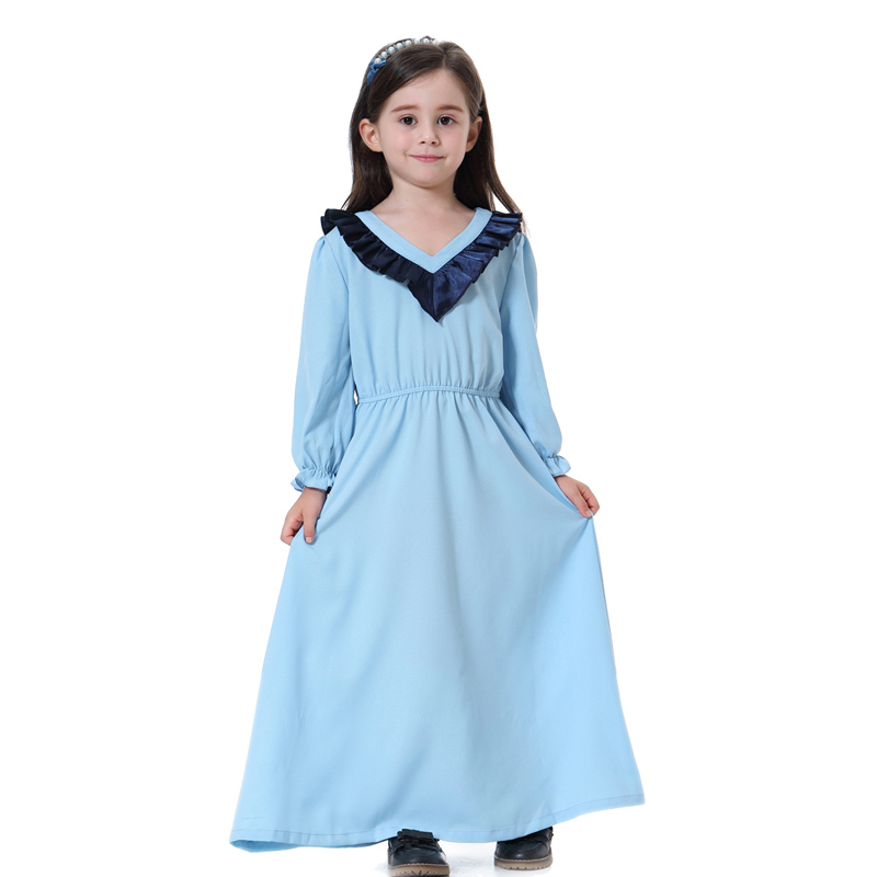 Arabic Girl Abaya Dresses Muslim Kids V-neck Long Princess