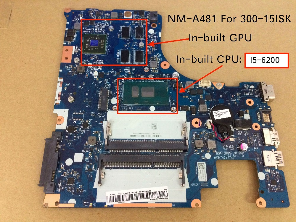 Brand NEW nm-a481 Mainboard For Lenovo 300-15isk Laptop motherboard i5-6200U cpu with R5 M330 2G graphic card image