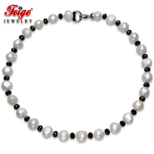 Feige Baroque Style 10-11mm White Natural Freshwater Pearl Choker Necklaces for Womens Black Crystal Collar Real Bijoux Jewelry