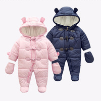 Winter Children Clothing Boy And Girls Jumpsuit One Piece Long Sleeves Add Fleece Blue Autumn Kids Rompers Cute Cheap Clothes
