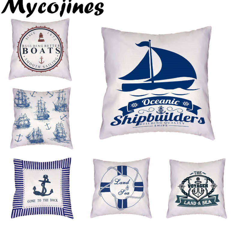 Whalesale Sea Style Cushion Cover Ship Rudder Sailboat