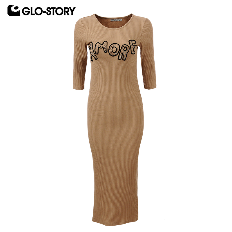 GLO STORY Women Embroidered Knitted Bodycon Vestidos Femme Slim Fit 2018 Long Sleeve Hem Sexy Slit