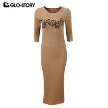 Glo-этажный Для женщин вышитые трикотажные Bodycon Vestidos Femme Slim Fit 2018 с длинным рукавом Подол сексуальный разрез весеннее платье wyq-1357