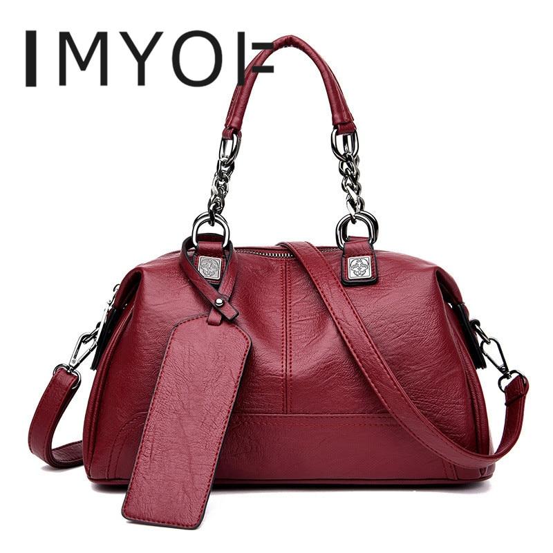 IMYOK Fashion Designer Women Handbags Female Genuine Leather Bags Ladies Shoulder Bag Ladies Boston Bag Totes Sac Main Femme