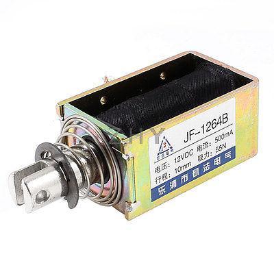 10mm Stroke 5.5Kg Force Push Pull Open Frame Solenoid Electromagnet DC 12V 0.5A  dc 12v 0 48a stroke 0 08kg force pull type tubular solenoid electromagnet