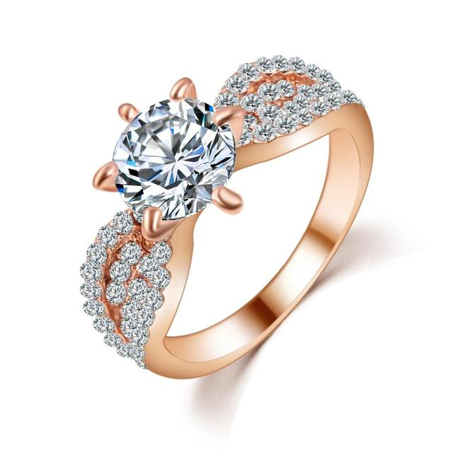 Romantic Wedding Crystal Ring with Big Zircon