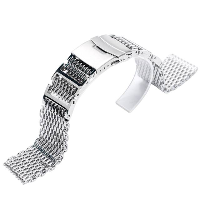 Cool 22mm Silver Folding Clasp with Safety Watch Band Shark Mesh Stainless Steel Women HQ Push Button Solid Link Men GD019422