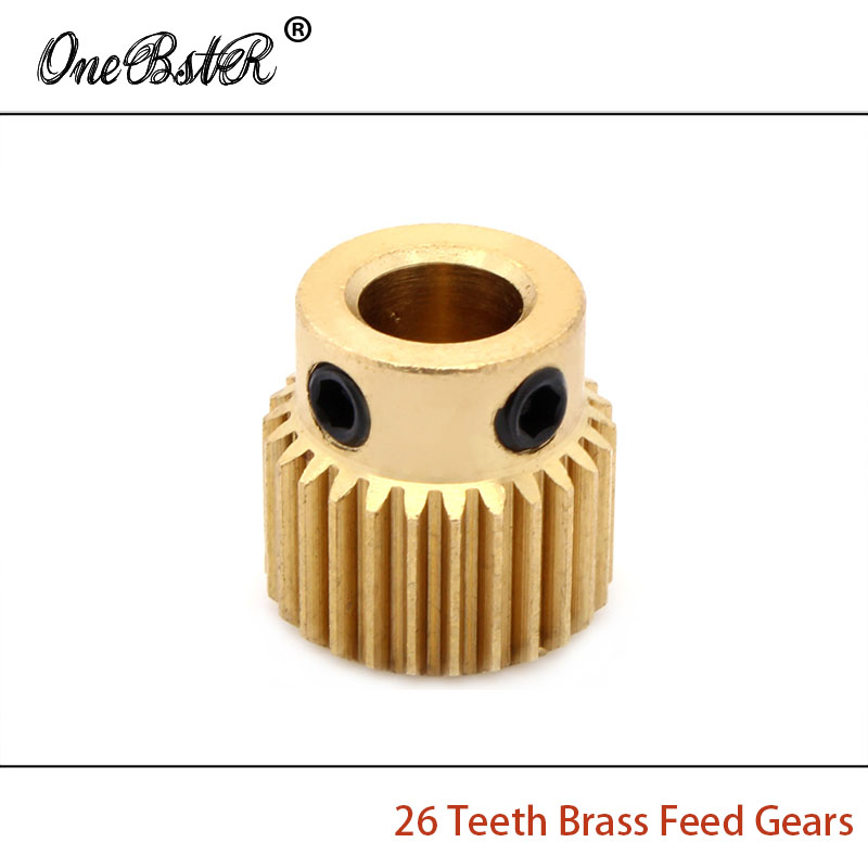 3 D Printer Accessories 26 Teeth Brass Feed Gears Makerbot Feeding Wheel Gear Special Brass Extrusion Wheel Gear Free shipping