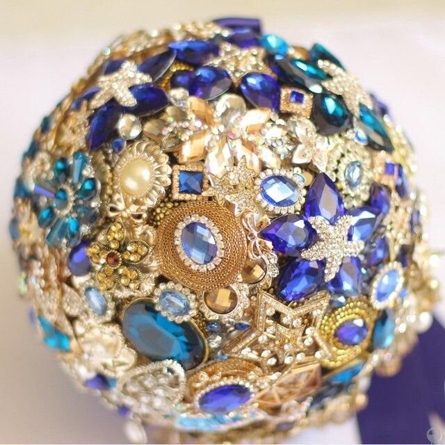8-дюймовый пользовательские свадебный букет, Темно-синий свадебный букет, сапфир бриллиантовая брошь букет, Роскошный яркий синий + золото тема