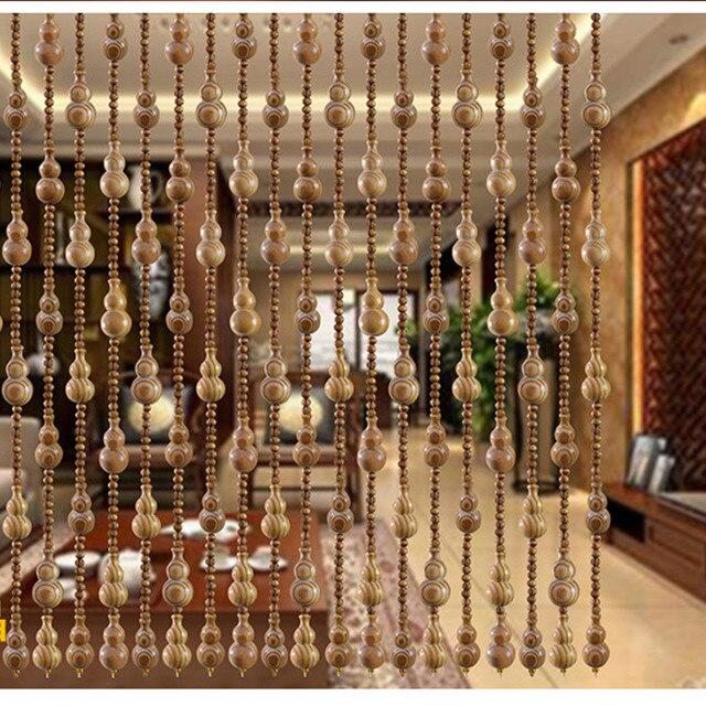 12pcs High 1M Wooden Bead Gourd Grade Pine Pattern Decorative Curtain Transporter Lucky Feng