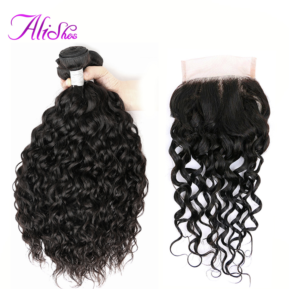 Alishes Peruvian Water Wave Bundles With Closure NonRemy Human Hair Bundles With Closure Middle Free 3