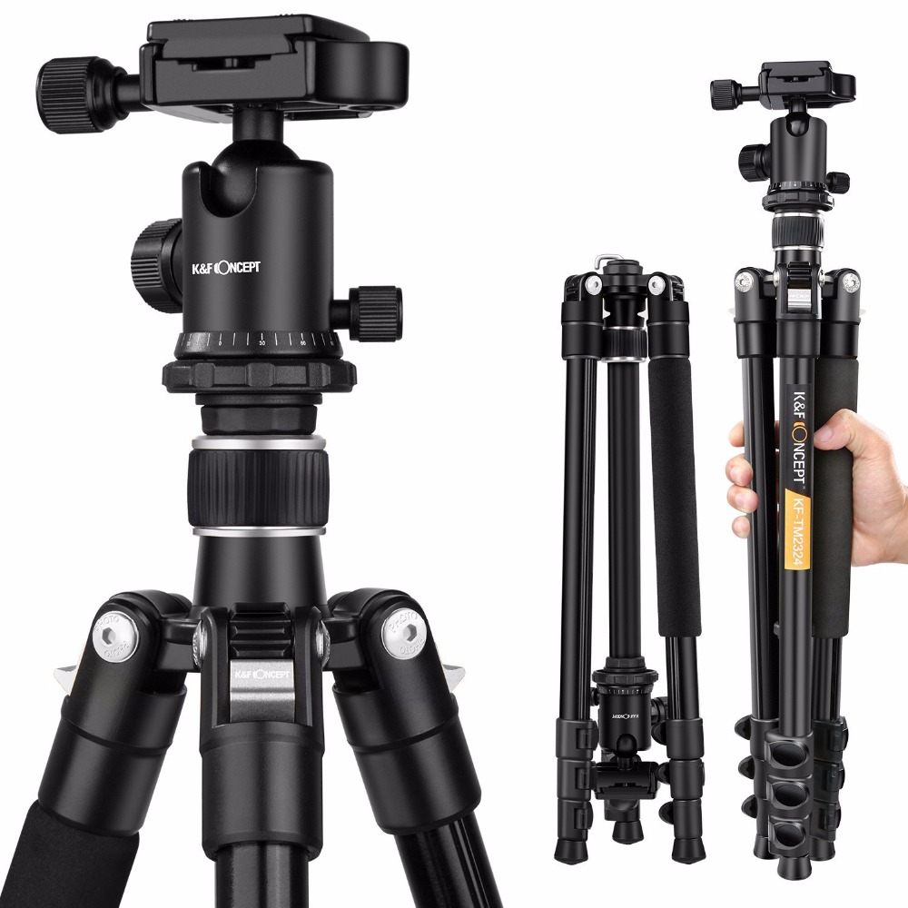 K&F CONCEPT Professional Portable Magnesium Aluminum Alloy 4-Sections Camera Tripod+Metal Die Casting Ball Head For DSLR Camera