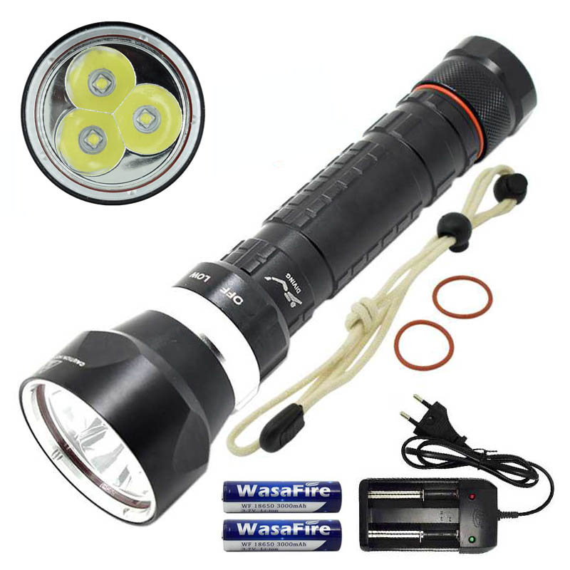 Super Bright 3x XML L2 LED Waterproof Scuba Diving Flashlight Underwater Dive Torch Light Diving Lamp Lanterna for Spearfishing