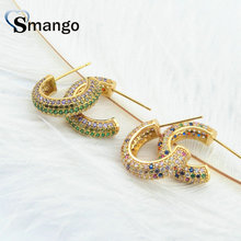 3Pairs,The Rainbow Series, Half Round Women Fashion Earrings.Two Colors,Colorful CZ, Can Mix