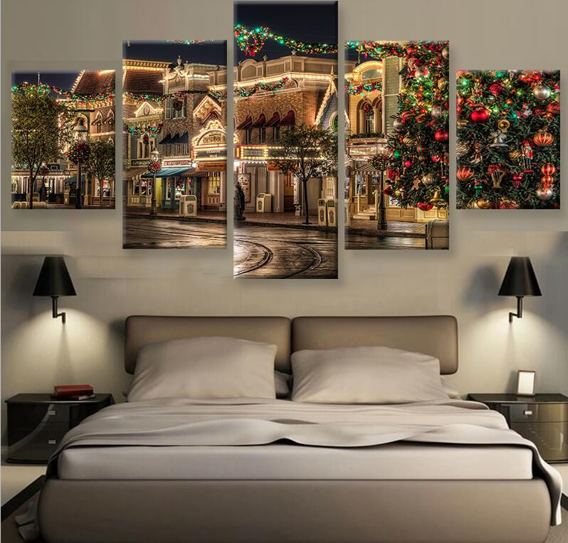 5 Panel Christmas Commercial Street Night View Modern Home Wall ...
