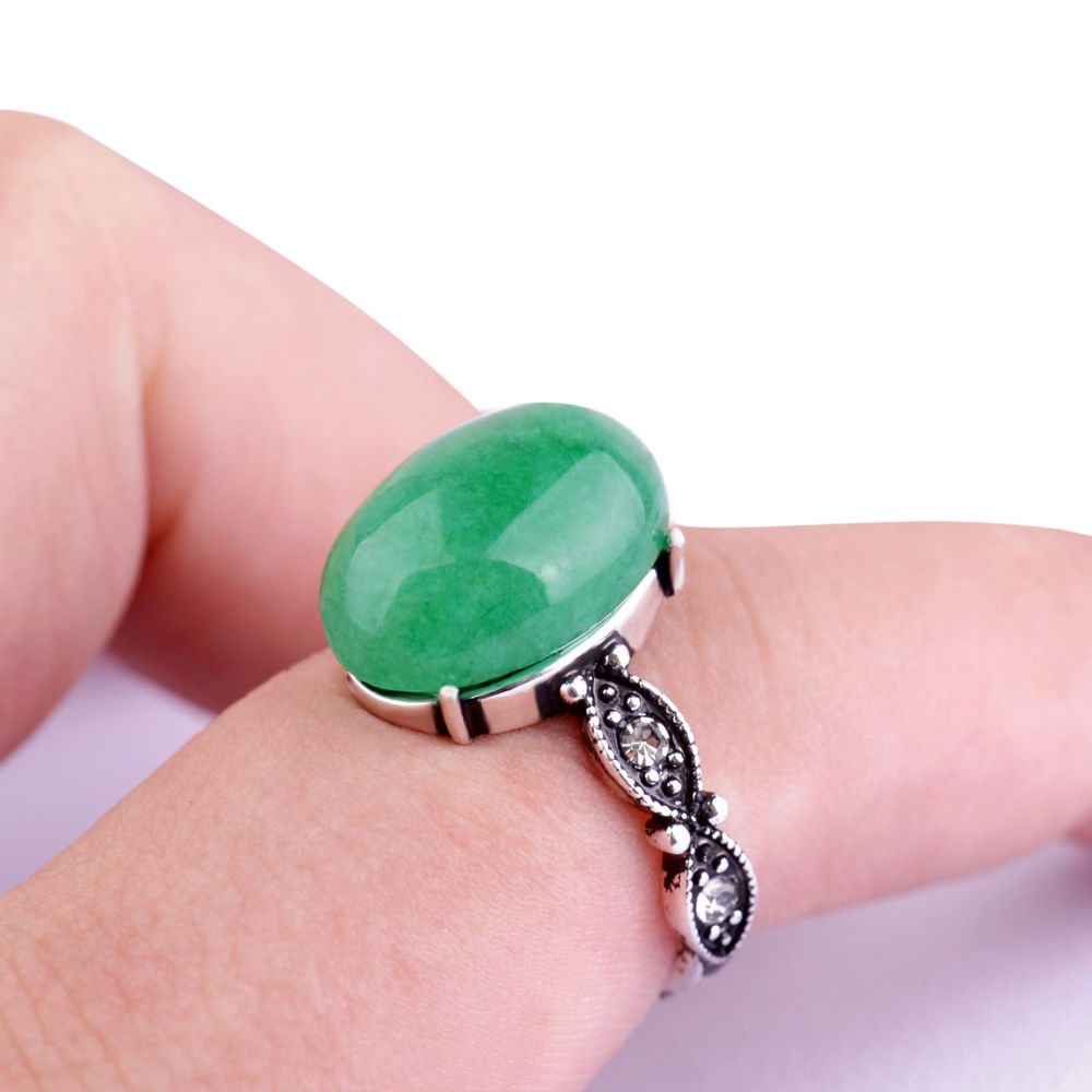 New Fashion Charm Women Antique Silver Plated Retro Green stone Ring ...
