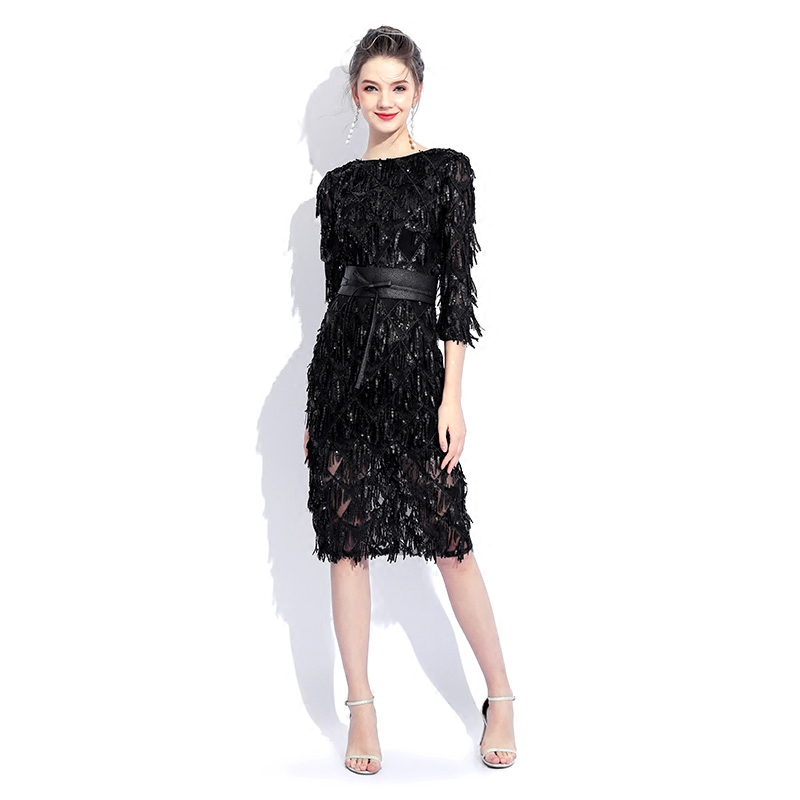 2019 New Black O-neck Half Sleeves Cocktail Party Dress Sheath Sequin Knee Length Elegant Lace Dress Formal Party Dress LYFY34