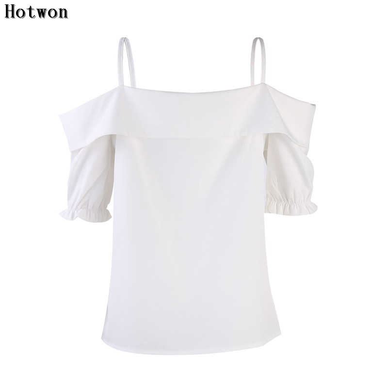 32056feabaa84e Women Off shoulder Tops 2017 Girls Cold Shoulder Blouses Nine Quarter V  Neck Shirts Sexy Ladies Halter Tops Women Solid Blouse-in Blouses   Shirts  from ...