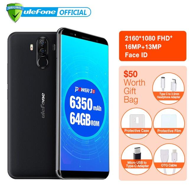 "Ulefone Power 3S Android 7.1 Mobile Phone 6.0"" 18:9 FHD MTK6763 Octa Core 4GB+64GB 4 Camera 6350mAh Fingerprint Face ID 4G Phone"