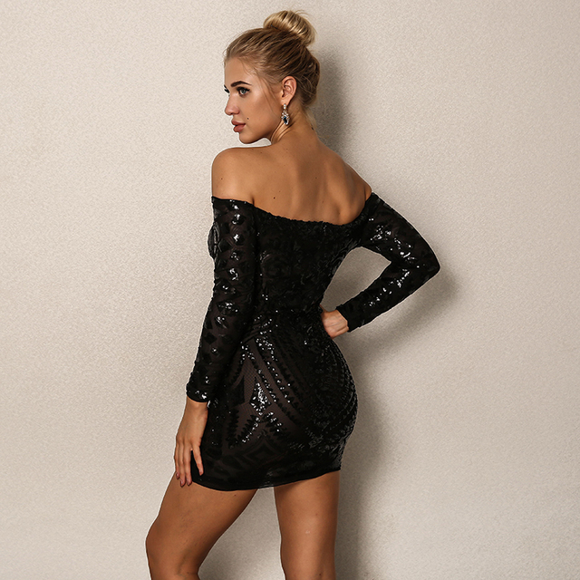 Off the shoulder black sparkly mini dress