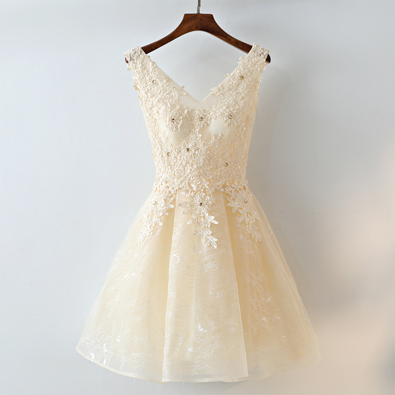 Evening Dress Short Style 2019 New Sexy V-neck Party Dresses Appliques Beaded Prom Dress Back Lace Up Sleeveless Robe De Soiree