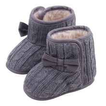 HOT SALE Baby shoesBaby Bowknot Soft Sole Shoes Winter Warm Shoes Boots (Gray, 13cm)