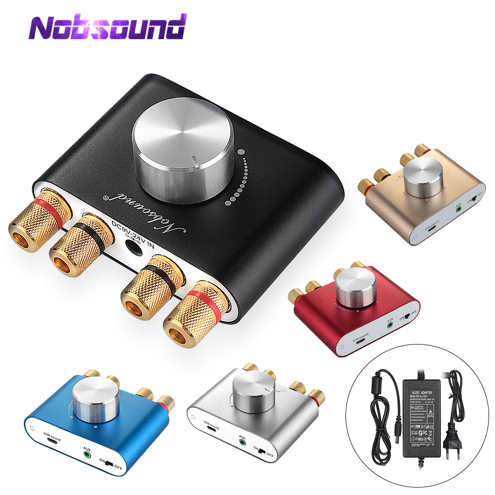 2020 Latest Nobsound Mini Bluetooth 5.0 TPA3116 Digital Power Amplifier HiFi Stereo Wireless Audio Receiver Car Amplifiers