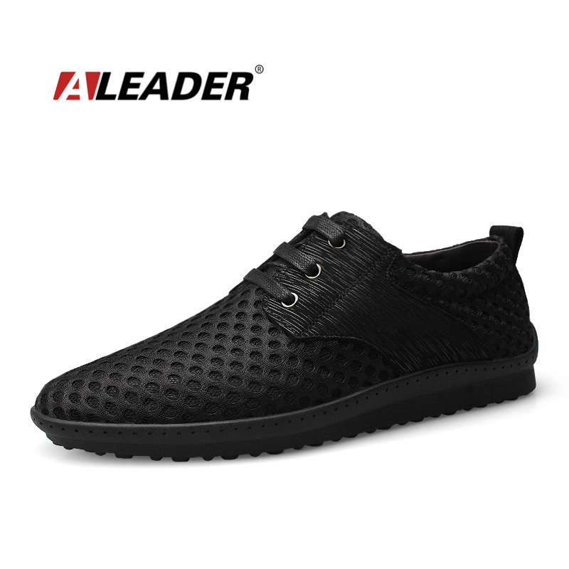 Aleader Plus Size 37-46 Summer Men Breathable Mesh Comfort Flat Shoes Walking Daily Wear Shoes Genuine Leather Driving Loafers big size 46 summer breathable mesh loafers men casual shoes genuine leather slip on brand fashion flat shoes soft comfort cool