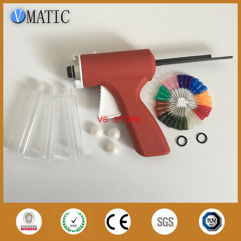 лучшая цена New 10ML manual syringe gun/ Epoxy Caulking Adhesive Gun single liquid glue gun/dispense gun with dispense tips & syringe barrel