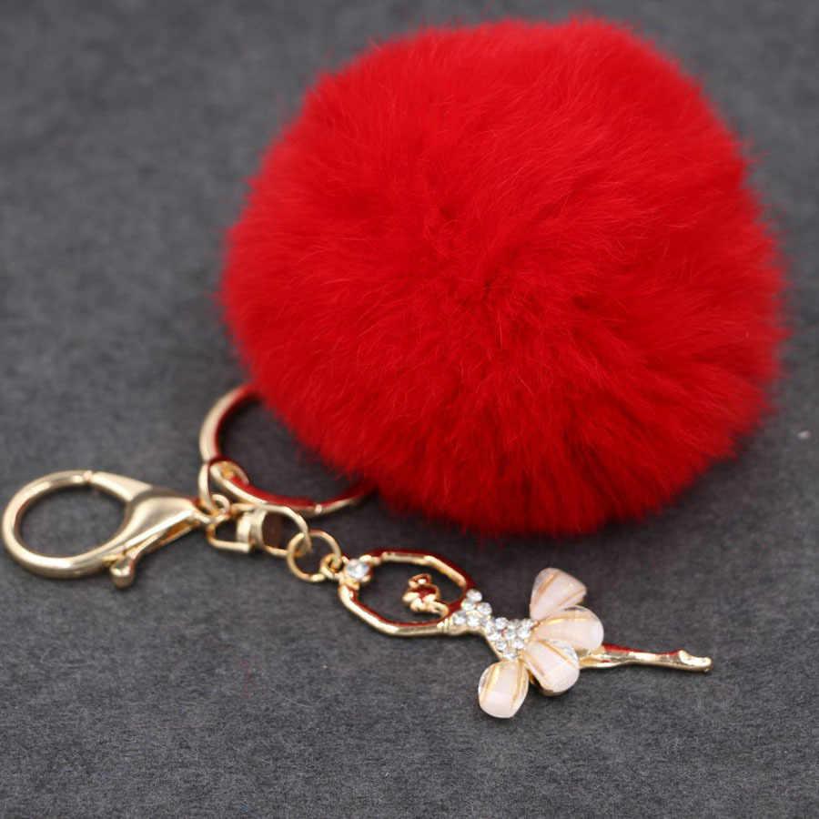 Fake Rabbit Fur Ball KeyChain Pompom Key Chain Pom Pom Key Rings Ballet Angel Girl Fourrure Pompon Women Bag Jewelry
