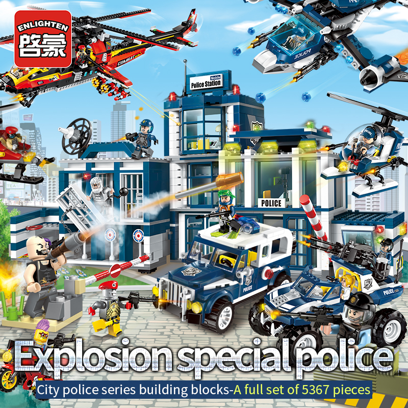 2017 Enlighten Limited Building Block for Police Station Truck City Plane Ship Kids Children Toys Compatible with Christmas Gift 2017 enlighten city series garbage truck car building block sets bricks toys gift for children compatible with lepin