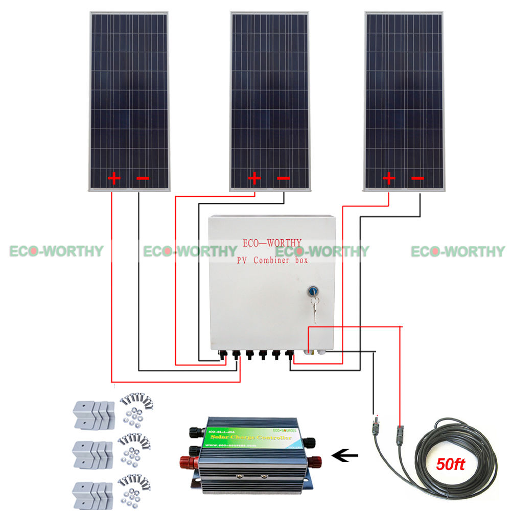 3 PCS 150W 450W 12V Solar Panel System Kit W/ 6 Strings Combiner Box for Home Use Solar Generators