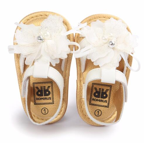 ROMIRUS Newborn Baby Moccasins White Flower Style Shoes Hard Sole Infant Girls Princess Shoes 0-18M First Walker Summer Shoes