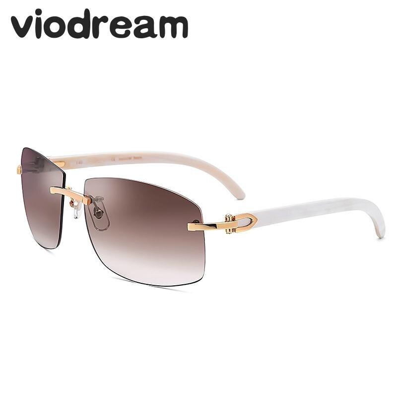 Viodream lujo Natural puro negro blanco cuerno pierna Polaroid gafas De Sol Rimless Retro hombres gafas De Sol Oculos De Sol