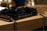 Black Luxury 3D Rose Strap Banquet Purse Wallet Leather Case For IPhone 4 4s 5 5s