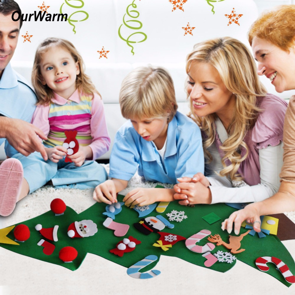 Ourwarm New Year Gifts Kids DIY Felt Christmas Tree Decorations Christmas Gifts for 2018 New Years Door Wall Hanging Ornaments