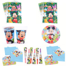 Mickey Mouse Birthday Party Decoration Boys Children Party Gift Disposable Napkin Paper Plate Cup Tableware Sets Home Decoration(China)