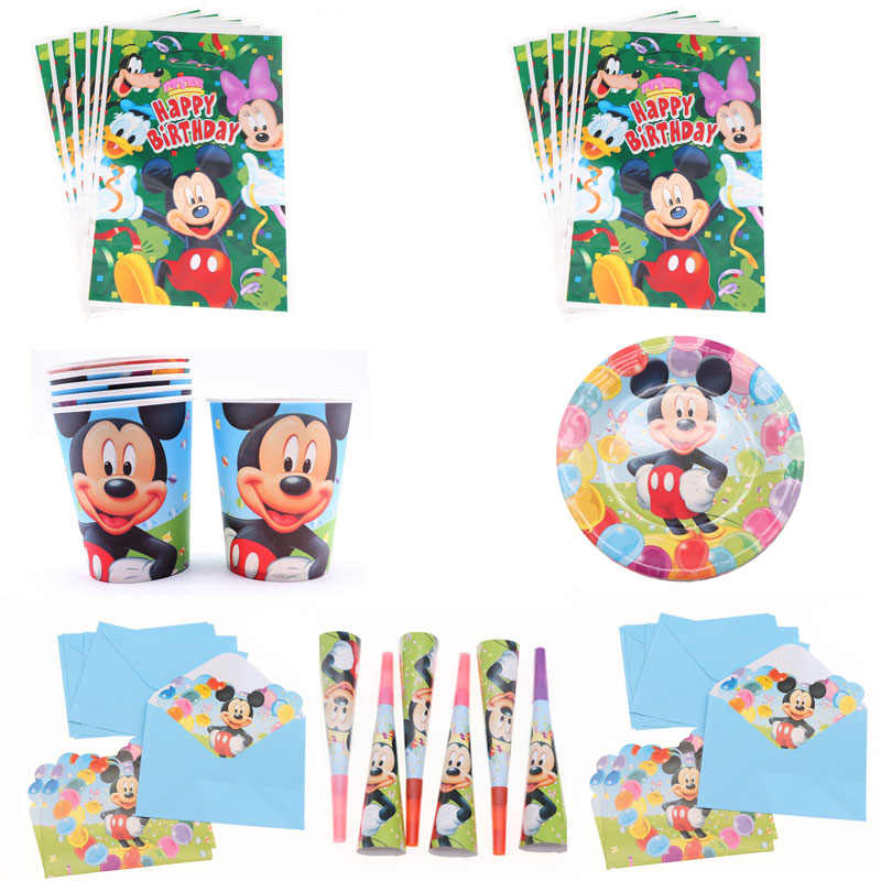 Mickey Mouse Birthday Party Decoration Boys Children Party Gift Disposable Napkin Paper Plate Cup Tableware Sets Home Decoration