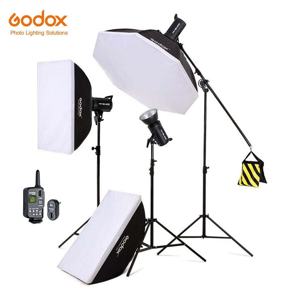 Free DHL 1200W Godox SK400 3x 400W Photo Studio Flash Lighting,Softbox,Light Stand, Studio Boom Arm Top Light Stand