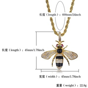 Image 5 - TOPGRILLZ Gold Silver Color Iced Out Cubic Zircon Animal Bee Pendant Necklace Mens Women Hip Hop Jewelry Gifts