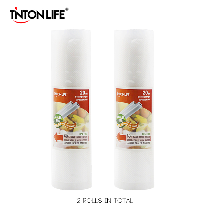 TINTON ЖИЗНИ 20 см * 500 см 2 Рулонов/набор Вакуумный Упаковщик Мешки Для Хранения Класса для Су Смотри и Foodsaver