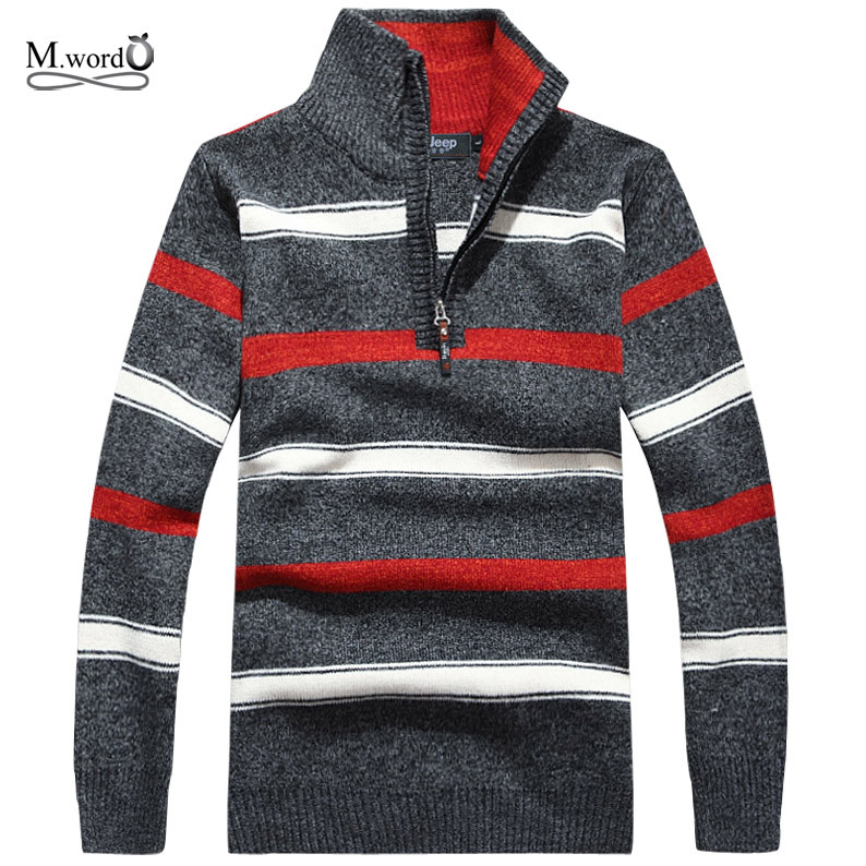 2019 new Casual men sweater long sleeve Cashmere stripe pullover half turtle neck sweater for men