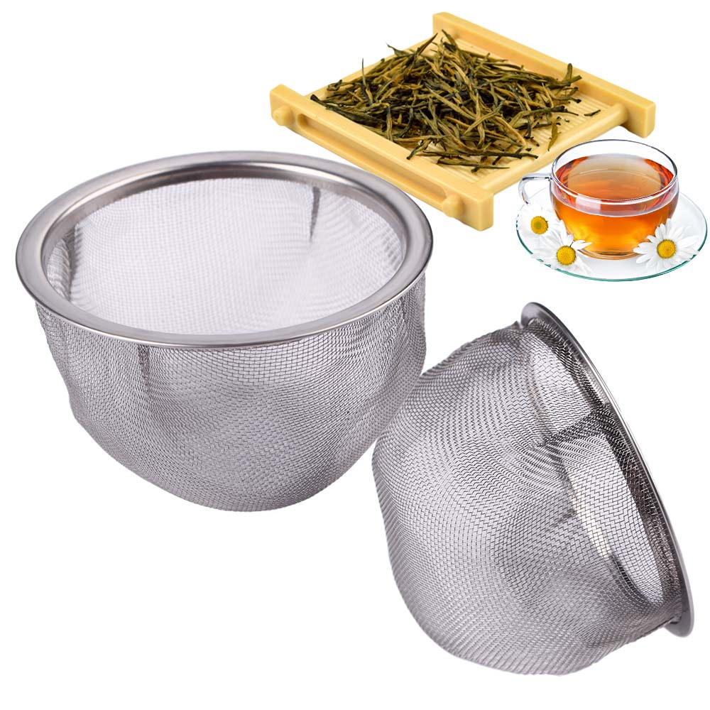 2 Piece Tea Mesh Infuser Reusable Tea Strainer Teapot Stainless Steel Loose Tea Leaf Spice Filter Drinkware Kitchen Accessories