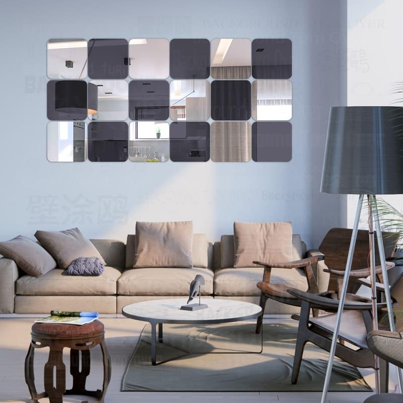 US $9.4 21% OFF|Platz Dekorative 3D Acryl Spiegel Wandaufkleber Wohnzimmer  Schlafzimmer Badezimmer Tür Dekor Raumdekoration Spiegel Fliesen R177-in ...