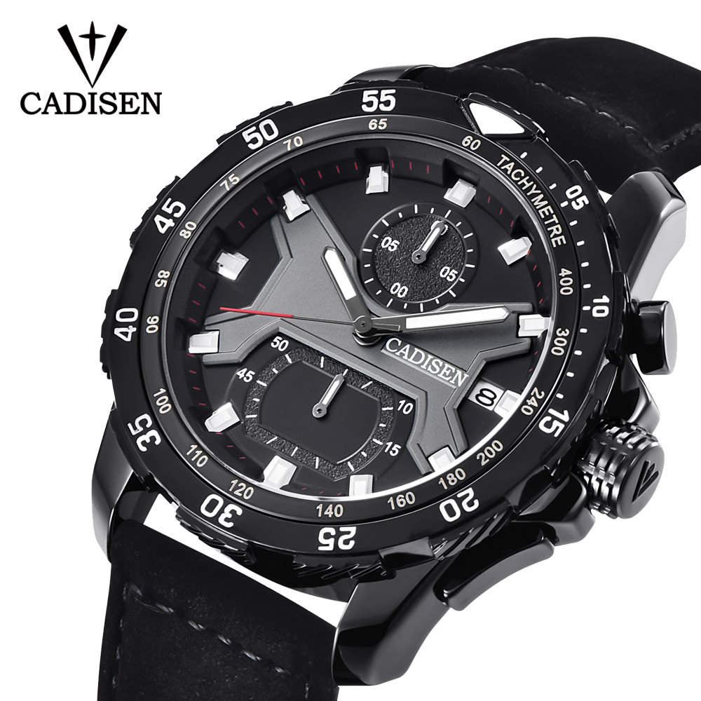 цены на CADISEN New Mens Watches 2018 Top Brand Luxury Waterproof Date Quartz Watch Man Leather Sport Wrist Watch Relogio Masculino Gift