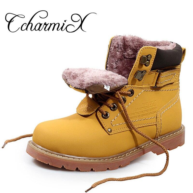CcharmiX/мужские рабочие ботинки, кожаные зимние ботинки унисекс, Теплые повседневные ботинки осень-зима, непромокаемые мужские рабочие ботинк...
