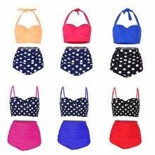 High-waisted Bikini Set Swimsuit Solid and dot swimwear women 2019 push up sexy bikini plus size 3XL bathing suit  summer plus size floral high waisted bandeau bikini set